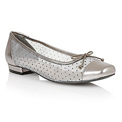 Lotus - Light pewter leather mesh 'Damsel' flat shoes