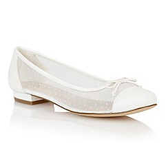 Lotus - White leather mesh 'Damsel' flat shoes
