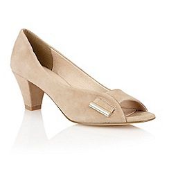 Lotus - Beige 'Baroness' peep toe shoes