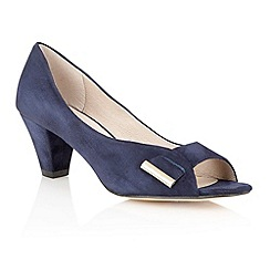 Lotus - Navy 'Baroness' peep toe shoes