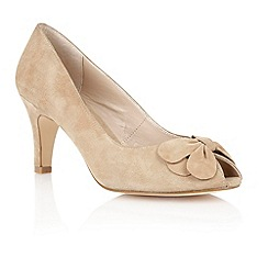 Lotus - Lotus beige suede 'Elvira' peep toe shoes