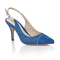 Lotus - Blue microfibre 'Ela' court shoes
