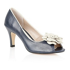 Lotus - Navy beige 'Belinda' peep toe shoes