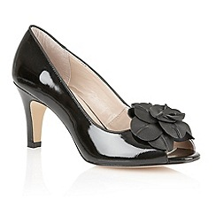 Lotus - Black patent 'Belinda' peep toe shoes