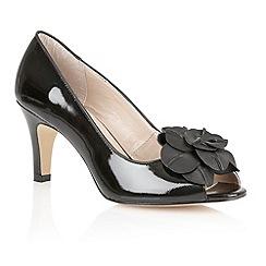 Lotus - Black patent 'Belinda' peep toe shoes