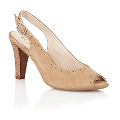 Lotus - Beige suede 'Faith' peep toe shoes