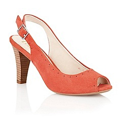 Lotus - Coral suede 'Faith' peep toe shoes