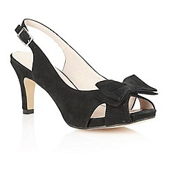 Lotus - Black suede 'Diana' peep toe shoes