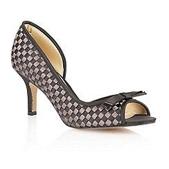 Lotus - Black grey satin 'Bernice' peep toe shoes