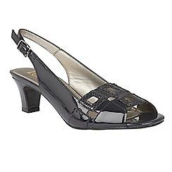 Lotus - Navy patent 'Zabry' open toe shoes