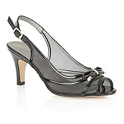 Lotus - Black shiny mesh 'Edna' peep toe shoes