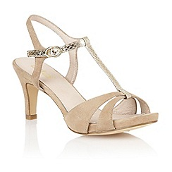 Lotus - Beige suede 'Geraldine' open toe shoes
