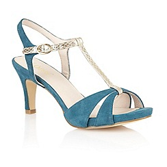 Lotus - Teal suede 'Geraldine' open toe shoes
