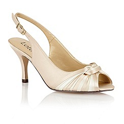 Lotus - Beige multi satin 'Janice' peep toe shoes