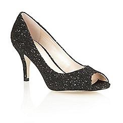 Lotus - Black printed satin 'Eva' open toe court shoes