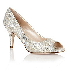 Lotus - Gold printed satin 'Eva' open toe court shoes
