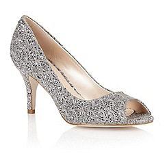 Lotus - Pewter silver textile 'Eva' peep toe shoes