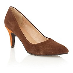Lotus - Brown orange suede 'Reco' court shoes