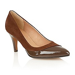 Lotus - Brown suede patent 'Elyza' court shoes