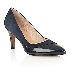 Lotus - Navy suede patent 'Elyza' court shoes