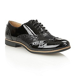Lotus - Black patent print 'Ceci' court shoes