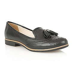 Lotus - Black leather 'Glady' court shoes
