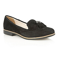 Lotus - Black suede 'Glady' court shoes