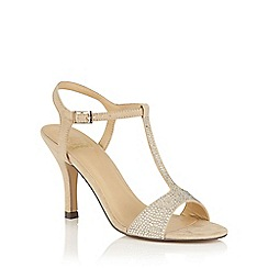 Lotus - Beige microfibre 'Fenella' T-Bar sandals