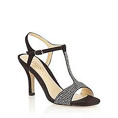 Lotus - Black microfibre 'Fenella' open toe court shoes
