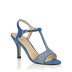 Lotus - Blue microfibre 'Fenella' T-Bar sandals