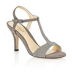 Lotus - Grey microfibre 'Fenella' open toe court shoes