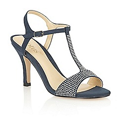Lotus - Navy microfibre 'Fenella' open toe court shoes