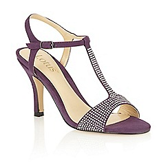 Lotus - Purple microfibre 'Fenella' open toe court shoes