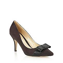 Lotus - Black microfibre black 'Tiesha' open toe court shoes
