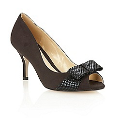 Lotus - Black microfibre black 'Jelena' court shoes