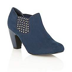 Lotus - Navy microfibre 'Yuko' court shoes