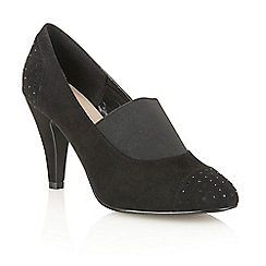 Lotus - Black microfibre 'Llorna' court shoes
