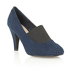 Lotus - Navy microfibre 'Llorna' court shoes