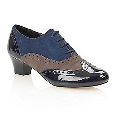 Lotus - Blue multi microfibre 'Sheree' court shoes