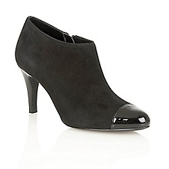 Lotus - Black suede shiny 'Kari' court shoes