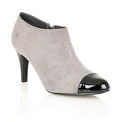 Lotus - Grey suede black shiny 'Kari' court shoes