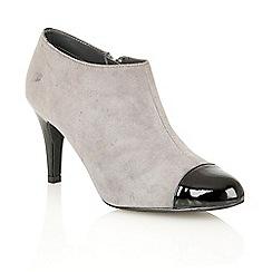 Lotus - Grey suede black shiny 'Kari' court shoes