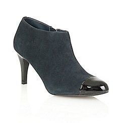 Lotus - Navy suede black shiny 'Kari' court shoes