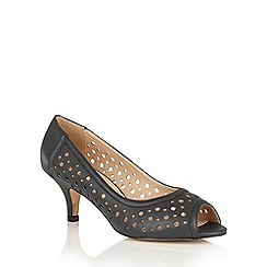 Lotus - Navy leather 'Danita' peep toe courts