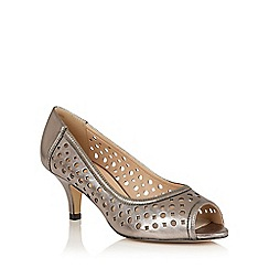 Lotus - Pewter leather 'Danita' peep toe courts