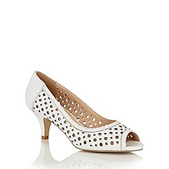 Lotus - White leather 'Danita' peep toe courts