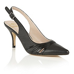 Lotus - Black shiny leather 'Maja' sling back courts
