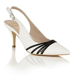Lotus - White black leather 'Maja' sling back courts