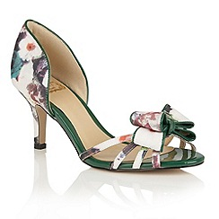 Lotus - Green floral 'Camera' peep toe courts