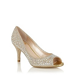 Lotus - Light gold diamante 'Serenity' peep toe courts